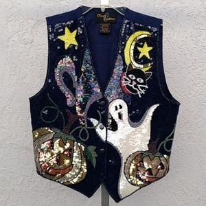 Halloween Sequin Vest w/ Ghost, Pumpkins Size S